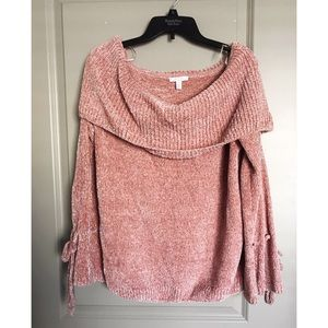 Off the shoulder chenille sweater